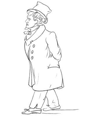 Beethoven Ausmaldbild BR © nach einer Zeichnung von J. Th. Lyser