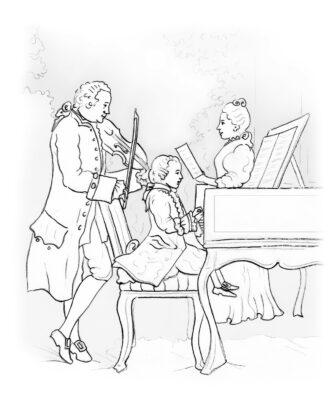 Ausmalbild_Vater Leopold Mozart musiziert mit seinen Kindern Wolfgang und Nannerl (von A. Schwarz nach histor. Vorlage)