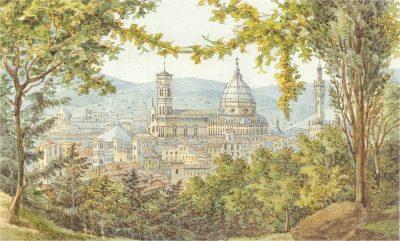Blick auf Florenz_Aquarell von Felix Mendelssohn 1830_Wikimedia Commons Public Domain
