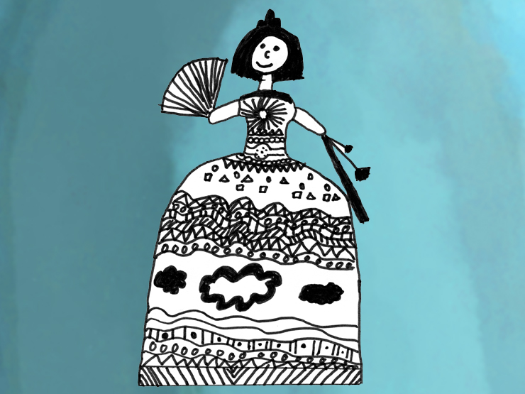 Dame mit Fächer und Barockkostüm © Zeichnung von Barbara - Grundschule Icking