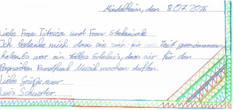 Dankesbrief vom Maristenkolleg Mindelheim
