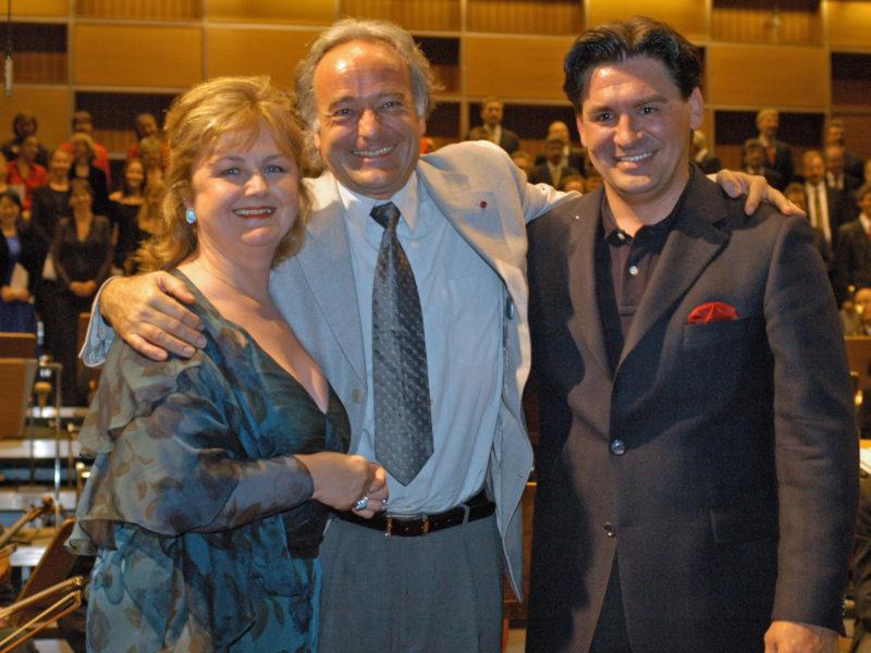 Edita Gruberova, Marcello Viotti, Zoran Todorovich bei der Feier zu Viottis 50. Geburtstag, 2.7.2004 (Credit BR/Georg Thum)