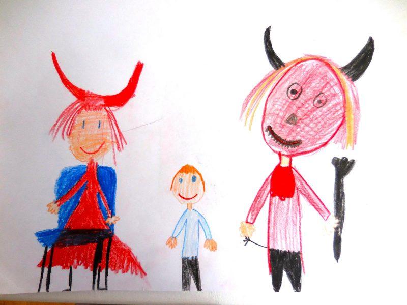 Der Teufel mit den drei goldenen Haaren (Bild von Hannah, Grundschule Wolfersdorf)