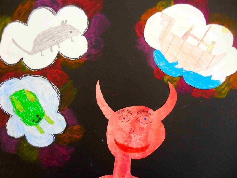 Der Teufel mit den drei goldenen Haaren (Bild von Hannah, Jakob, Nepomuk und Julian, Grundschule Wolfersdorf)
