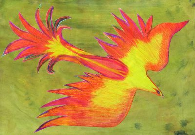 Der Feuervogel. Bild von Dominik, Grundschule Igling an der Via Claudia