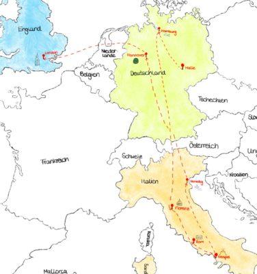 Karte Mit Händel durch Europa von Franziska (P-Seminar Gymnasium Waldkraiburg)
