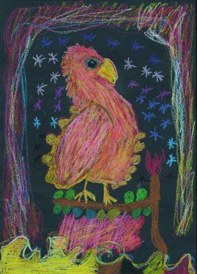 Der Feuervogel. Bild eines Kindes der Carl-August-Heckscher-Schule, München