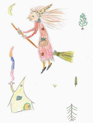 Malwettbewerb Die kleine Hexe von Ann-Sophie 4. Klasse Montessorischule Gilching-4d