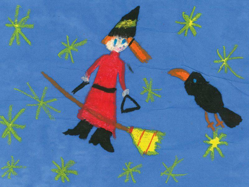 Malwettbewerb Die kleine Hexe von Evelyn 2.Klasse Anni-Pickert Grundschule Poing